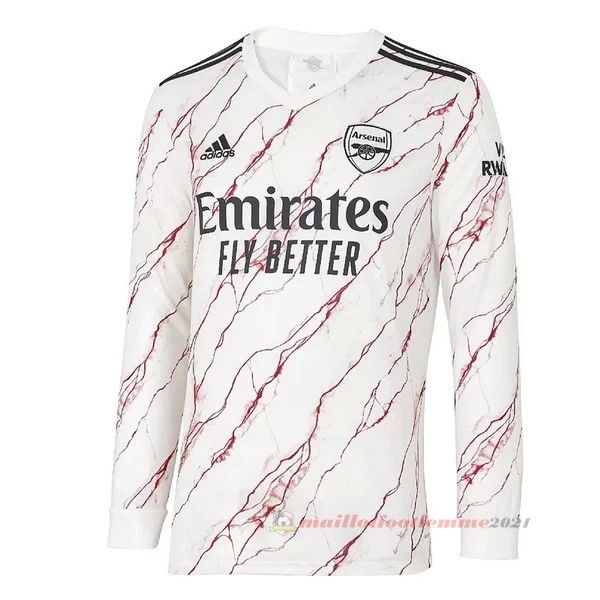 Exterieur Manches Longues Arsenal 2020 2021 Blanc Tee Shirt Foot