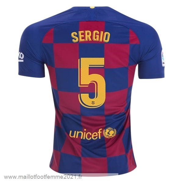 NO.5 Sergio Domicile Maillot Barcelona 2019 2020 Bleu Rouge Tee Shirt Foot