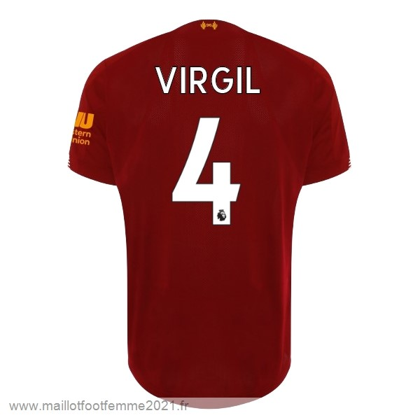 NO.4 Virgil Domicile Maillot Liverpool 2019 2020 Rouge Tee Shirt Foot