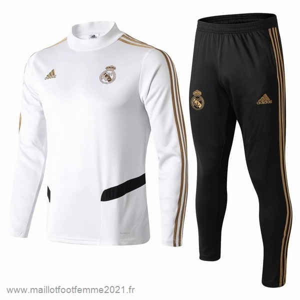 Survêtements Real Madrid 2019 2020 Blanc Noir Jaune Tee Shirt Foot