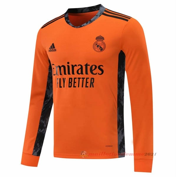 Segunda Manga Larga Real Madrid 2020 2021 Orange Tee Shirt Foot